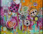 Expect the Unexpected  Funky Wild Flower Acrylic and Collage on Cradled Wood 24 x 24  by Jodi Ohl