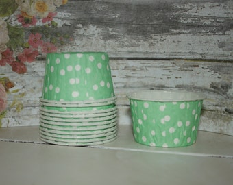 Green Nut Cups, set of 12, Paper cups,  Baking Cups, Dessert Cups, Ice Cream Cups Mint green white polka dots