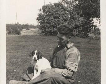 vintage photo Farmer Worker Sits in Grass w His New Hound Dog Puppy