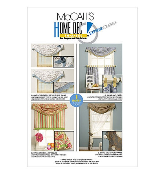 Mccalls Sewing Pattern 6050 Home Dec In A Sec Swag Curtains