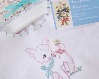 Pinky Deer - Hand Embroidered Baby Dress 18-24 months (Ready to ship)