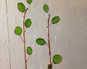 Bright green spring Branches- Stained  Glass 2ft Tall Branch