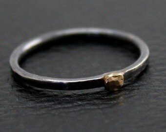 Little Bling Ring in Sterling Silver and 14k Gold