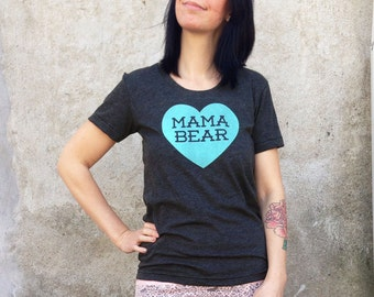 Mama Bear with Heart Heather Black TShirt with Aqua Blue Print - New mom, Expecting, Gift for Her, Mother's Day, Love Mom, Family Photos