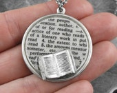 Reading Definition Silver Necklace - Defining the Life of a Librarian by COGnitive Creations