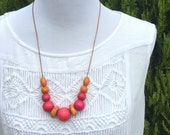 ON SALE! Bright Pink Necklace - Marbled Clay and Wooden Beads