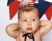 Boys 1st Birthday hat - red, white, and blue - Patriotic birthday - Party hat - Cake smash - Birthday keepsake -  Free personalization