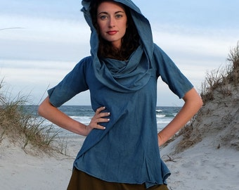 ORGANIC Super Cowl Wanderer Shirt (organic tissue cotton knit) - organic dress