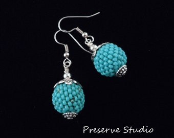 Turquoise Earrings, Beaded Beads, Silver Earrings, Unique Earrings, Seed Bead Earrings/ Chic Earrings,