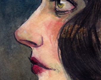 "ACEO Original Watercolor Painting Portrait ""In a Somber Mood"" by Amy Abshier-Reyes"
