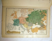 Vintage 1927 book The Literary Digest Atlas of the world and Gazetteer book of Maps Funk and Wagnalls Company