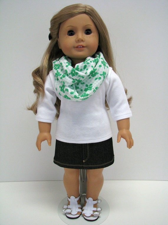"""Girl Doll Clothes - 18 Inch Doll Clothes - 18 Inch Doll Scarf - 18"""" Doll Top and Scarf - Girl Doll Set - A Doll Boutique - American Handmade"""