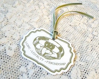 Claddagh Ring Wedding Tags, For the Celtic Marriage Reception or St. Patricks Day Wedding, Green and White, Package of 25, Irish Ireland