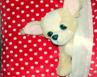 Pillow case, sham: Minky travel pillow 14 x 20 inch, lush red polka dot minky with satin trim