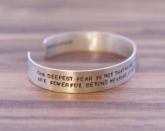 Our Deepest Fear Quote Cuff (Marianne Williamson)
