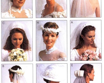 90s Bridal veils headpieces and hat vintage sewing pattern McCalls 2057  Brides wedding veils UNCUT
