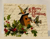 "French ephemera ""A Merry Christmas"" holiday cards with birds - set of 8"