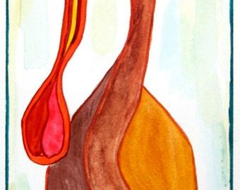 Bird Art, Spoonbill, Spoonbill Bird Print, Wading bird, Spoonbill Print