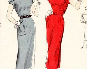 Vintage 1950s COUTURE Coat Dress w/ Large Draped Wing Collar Asymmetrical Button Closing Sewing Pattern Vogue 7094 50s Pattern Size 14 B32