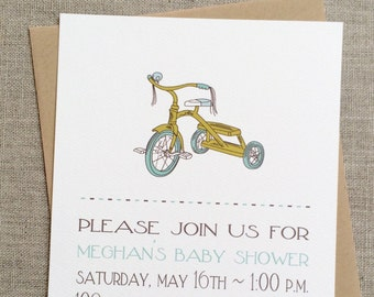 Baby Shower Invitation Pool Chartreuse Tricycle