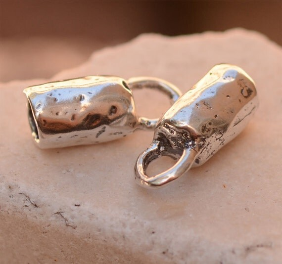Rustic Sterling Silver End Caps, Fits 4.5mm Braided Bolo Leather Cord