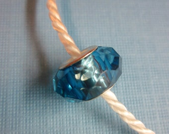 Blue Acrylic Gem Spacer Bead European Charm Sized