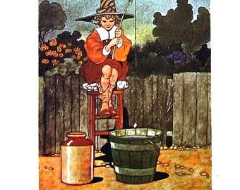 Simple Simon - Children's Nursery Rhyme - 1967 Vintage Book Page - 9 x 7
