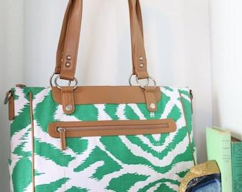 Laptop Camera Bag - Emerald Green Ikat and Tan Trim- Laptop Tote - Womens Laptop Satchel - Canvas and Vegan Leather