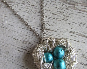 Turquoise Vintage Style Wire Wrapped Bird Nest Antique Silver Bead Egg Pendant Necklace Bird's Nest