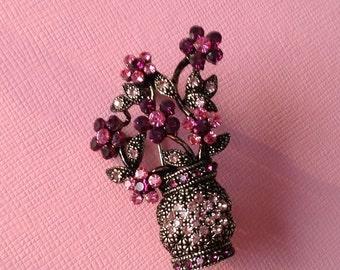 Vintage Rhinestone Flower Brooch Pin Pink Amethyst Purple