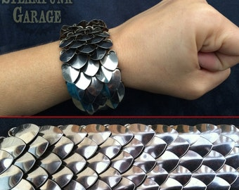 """Scalemail Cuff - Stainless """"Small"""" Scales"""