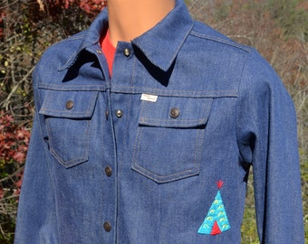 vintage 70s western shirt DENIM jean embroidered cowboy jacket Small XS native