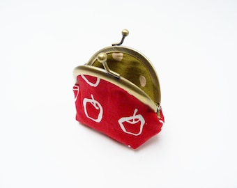 Coin purse, Red and white cotton apple fabric, cotton pouch