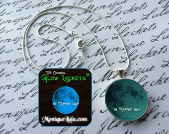 Blue Glowing Moon Magic Necklace Glow in the Dark Luna Celestial Space Galaxy Pendant Glowies with Free UV Charger Light Handmade Jewelry