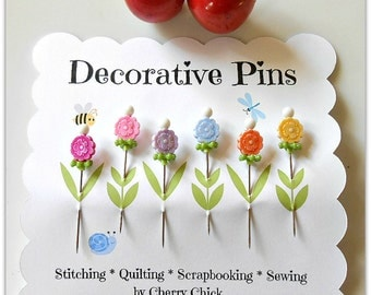 Decorative Pins - Sewing Pins - Fancy Pins - Pin Toppers - Scrapbooking Pins - Quilting Pins - Embeliishment Pins - Thread Catcher Pins