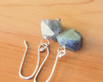 Sterling Silver and Wire Wrapped Labradorite Gemstone Nugget Simple Drop Earrings - Glow // F176