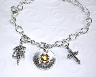 Personalized Hand Stamped Jewelry LPN Nurse Bracelet Nursing Student Gift Sterling Silver Charm Swarovski Crystal Cross LPN Graduation Gift