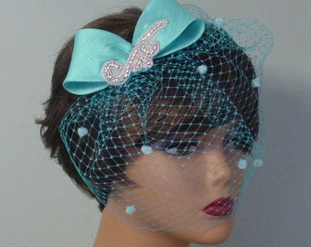 Bow Birdcage Veil Wedding Headpiece Bridal Accessory or Bridesmaid  Turquoise and Many Other Colors