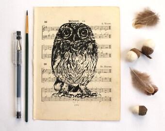 Little Owl Gocco Print on Vintage Music