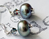 Magnificent Grey Freshwater Pearl Earrings Minimalist Dangle Earrings