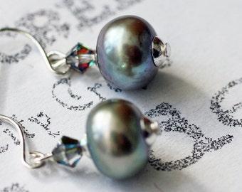 Magnificent Grey Freshwater Pearl Earrings, Minimalist Gray Pearl Dangle Earrings, Classic Grey Pearl Silver Drop Earrings