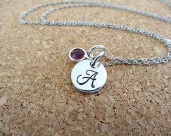 Birthstone Initial Necklace - Personalized Initial with Birthstone or Pearl Necklace - Small Pendant