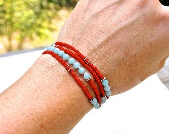 SALE, Seed bead and Gemstone Multi Wrap Bracelet, Amazonite Bracelet, Delicate Boho Chic Multi Wrap, Layering Necklace