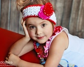 Double Heart Headband - White, Red, Hot Pink