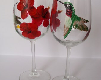 Hummingbird Wine Glasses,hibiscus flowers,floral,red,birds,bird lover, Hand Painted