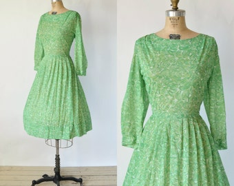 1960s Green Day Dress --- Vintage Abstract Print Dress