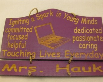 Computer Teacher's Gift Personalized Wooden Teacher Wall Hanging