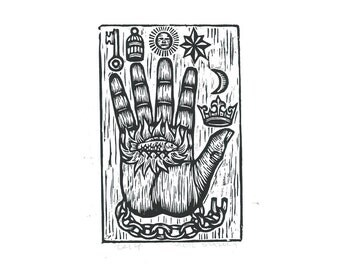 Hand Linocut Art Print, The Philosopher's Hand Woodcut Print, Hand of Mysteries Art Print, Home Decor