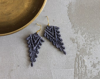 gray earrings // SAZIA // lace earrings / tribal earings/ boho earrings / statement earrings / dangle earrings / modern