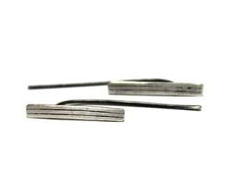 Line 4. Bar Sterling Silver Earrings / Geometric Minimalist Jewelry / GUGMA Women's Handmade